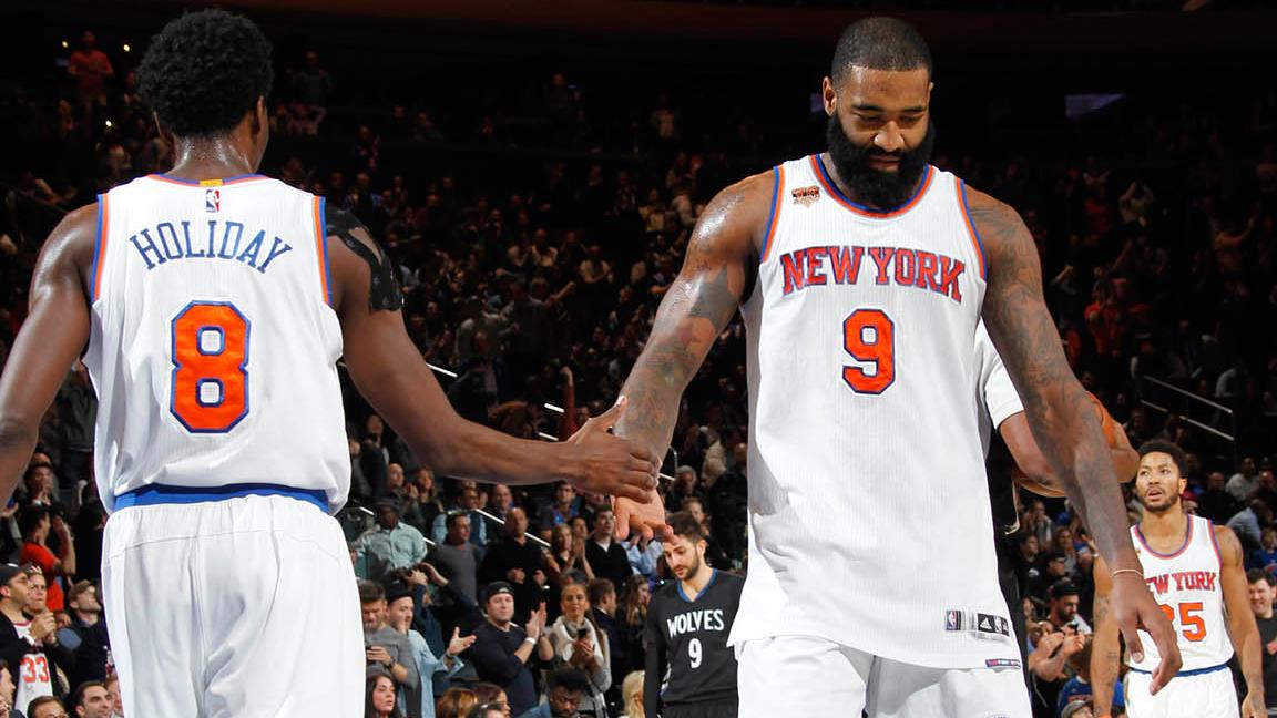 Knicks Holiday O'Quinn Home Timberwolves 120216